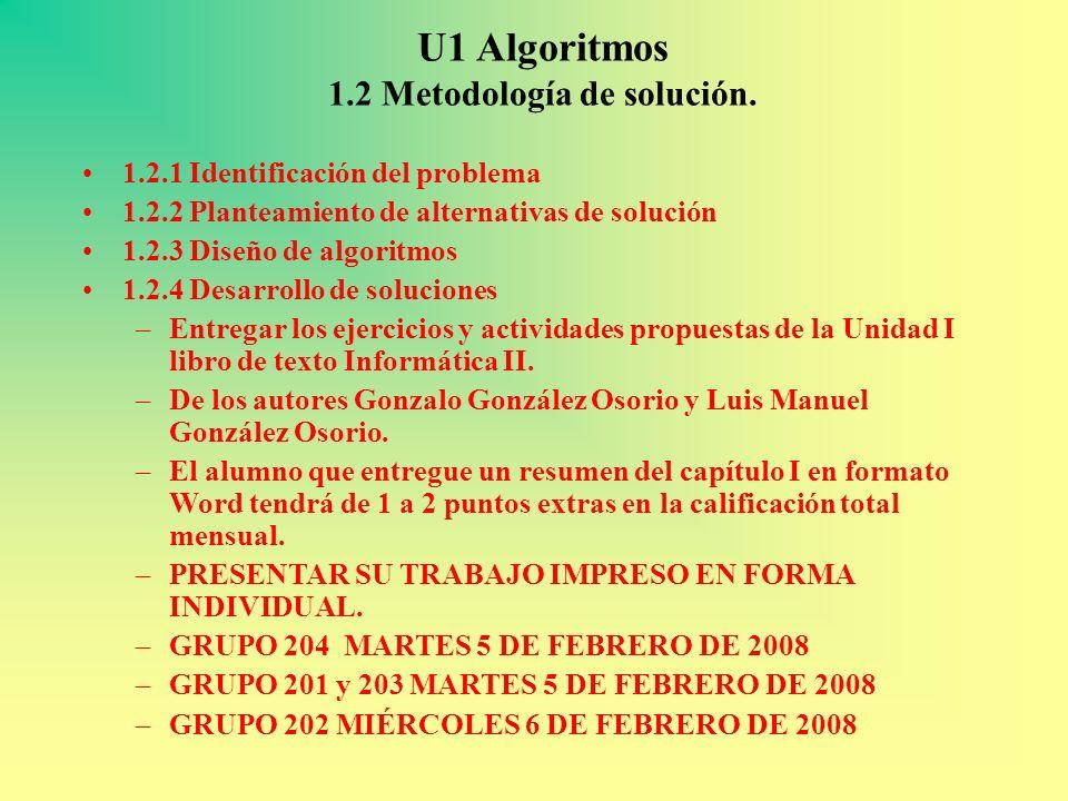 U1 Algoritmos 1.2 Metodología de solución. 1.2.1 Identificación del problema 1.2.2 Planteamiento de alternativas de solución 1.2.3 Diseño de algoritmo