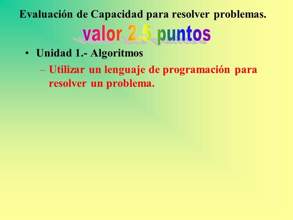 Evaluación de Capacidad para resolver problemas. Unidad 1.- Algoritmos –Utilizar un lenguaje de programación para resolver un problema.