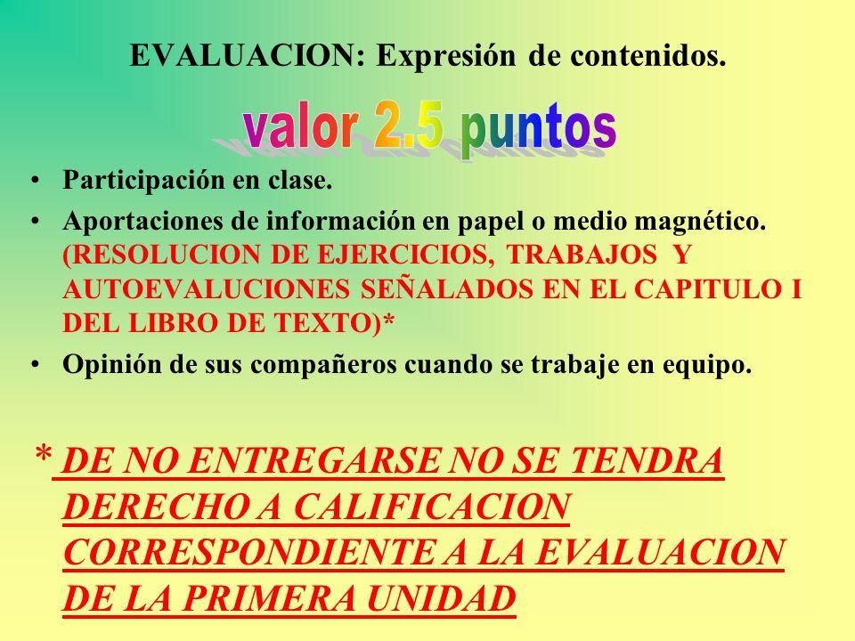 EVALUACION: Expresión de contenidos. Participación en clase. Aportaciones de información en papel o medio magnético. (RESOLUCION DE EJERCICIOS, TRABAJ