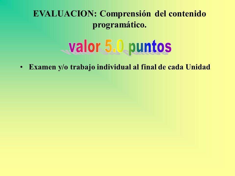 EVALUACION: Comprensión del contenido programático. Examen y/o trabajo individual al final de cada Unidad