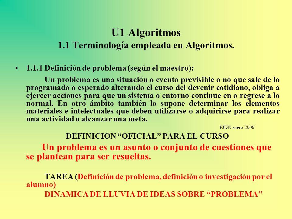 U1 Algoritmos 1.1 Terminología empleada en Algoritmos. 1.1.1 Definición de problema (según el maestro): Un problema es una situación o evento previsib