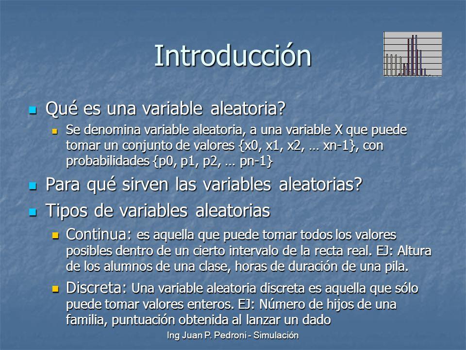 Ing Juan P. Pedroni - Simulación Introducción Qué es una variable aleatoria? Qué es una variable aleatoria? Se denomina variable aleatoria, a una vari