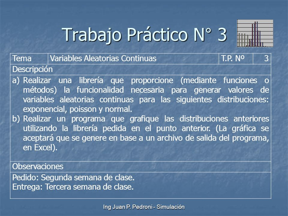 Ing Juan P. Pedroni - Simulación Trabajo Práctico N° 3 TemaVariables Aleatorias ContinuasT.P. Nº3 Descripción a)Realizar una librería que proporcione