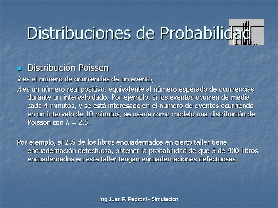 Ing Juan P. Pedroni - Simulación Distribuciones de Probabilidad Distribución Poisson Distribución Poisson k es el número de ocurrencias de un evento,