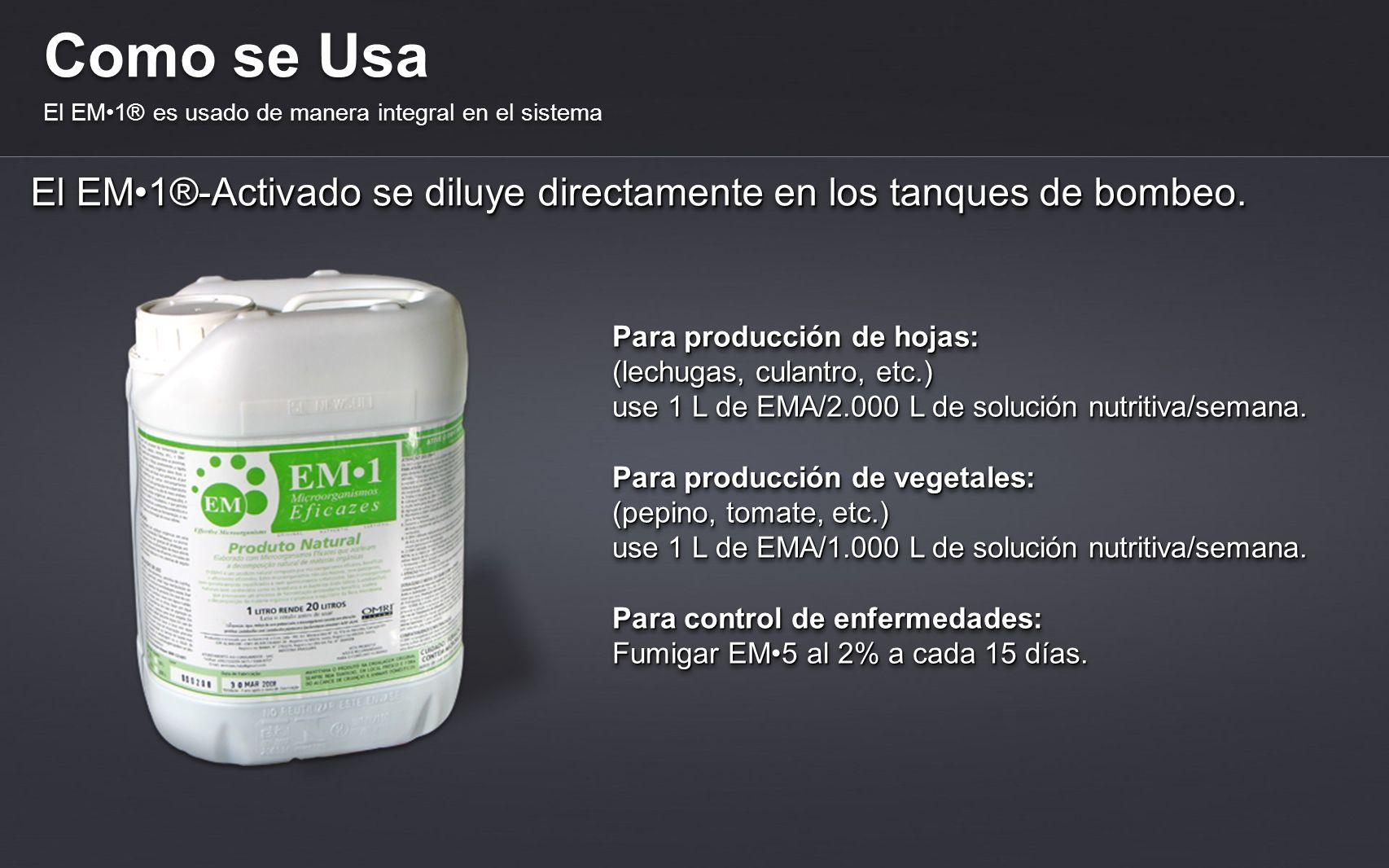 Como se Usa El EM1® es usado de manera integral en el sistema El EM1®-Activado se diluye directamente en los tanques de bombeo. Para producción de hoj