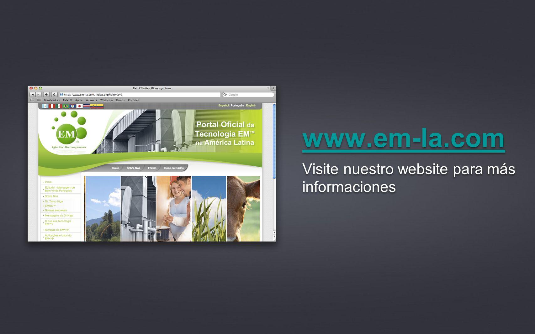 Visite nuestro website para más informaciones