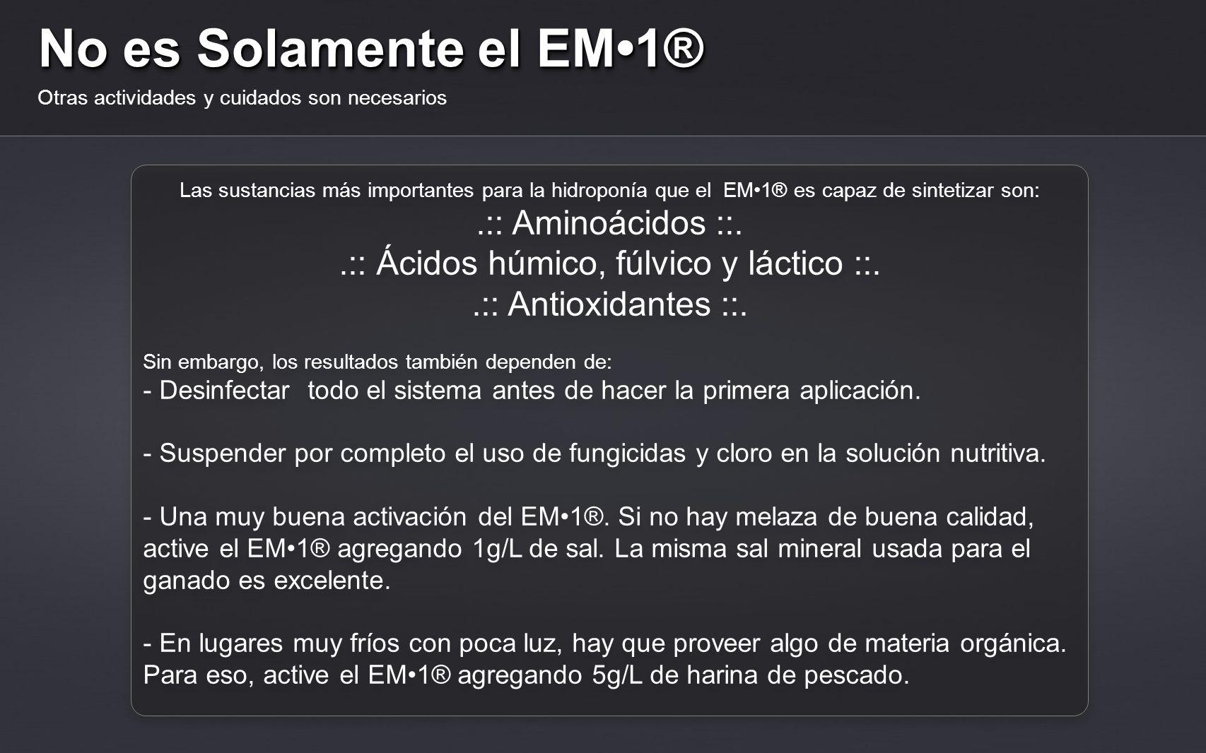 No es Solamente el EM1® Otras actividades y cuidados son necesarios Las sustancias más importantes para la hidroponía que el EM1® es capaz de sintetiz