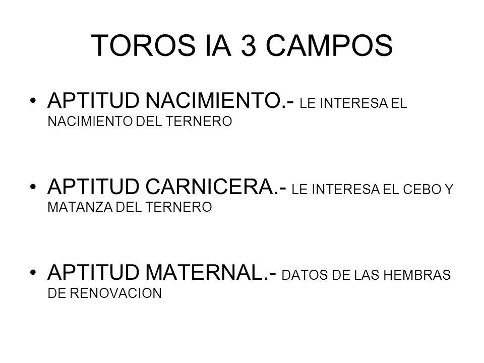 TOROS IA 3 CAMPOS APTITUD NACIMIENTO.- LE INTERESA EL NACIMIENTO DEL TERNERO APTITUD CARNICERA.- LE INTERESA EL CEBO Y MATANZA DEL TERNERO APTITUD MAT