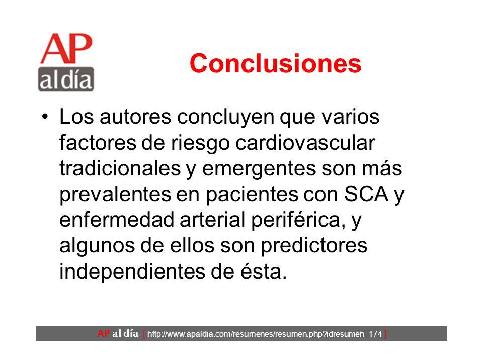 AP al día [ http://www.apaldia.com/resumenes/resumen.php idresumen=174 ] Resultados (3) En el análisis multivariante los predictores independientes de EVP fueron: –diabetes mellitus mal controlada, –años de tabaquismo y –presión de pulso.