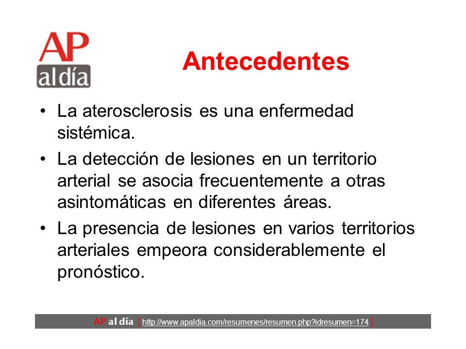 AP al día [ http://www.apaldia.com/resumenes/resumen.php?idresumen=174 ] Antecedentes La aterosclerosis es una enfermedad sistémica.
