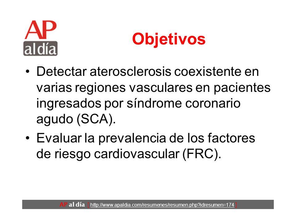 AP al día [ http://www.apaldia.com/resumenes/resumen.php?idresumen=174 ] Objetivos Detectar aterosclerosis coexistente en varias regiones vasculares en pacientes ingresados por síndrome coronario agudo (SCA).