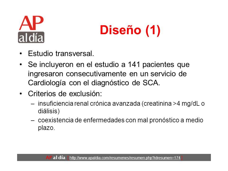 AP al día [ http://www.apaldia.com/resumenes/resumen.php idresumen=174 ] Objetivos Detectar aterosclerosis coexistente en varias regiones vasculares en pacientes ingresados por síndrome coronario agudo (SCA).