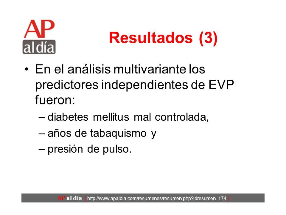 AP al día [ http://www.apaldia.com/resumenes/resumen.php?idresumen=174 ] Resultados (3) En el análisis multivariante los predictores independientes de EVP fueron: –diabetes mellitus mal controlada, –años de tabaquismo y –presión de pulso.