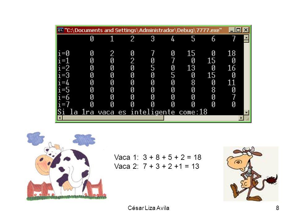 César Liza Avila8 Vaca 1: 3 + 8 + 5 + 2 = 18 Vaca 2: 7 + 3 + 2 +1 = 13