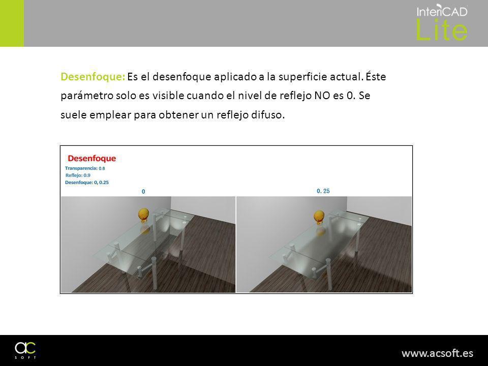 www.acsoft.es Desenfoque: Es el desenfoque aplicado a la superficie actual. Éste parámetro solo es visible cuando el nivel de reflejo NO es 0. Se suel