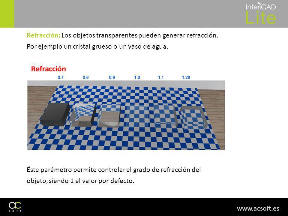 www.acsoft.es Refracción: Los objetos transparentes pueden generar refracción. Por ejemplo un cristal grueso o un vaso de agua. Éste parámetro permite