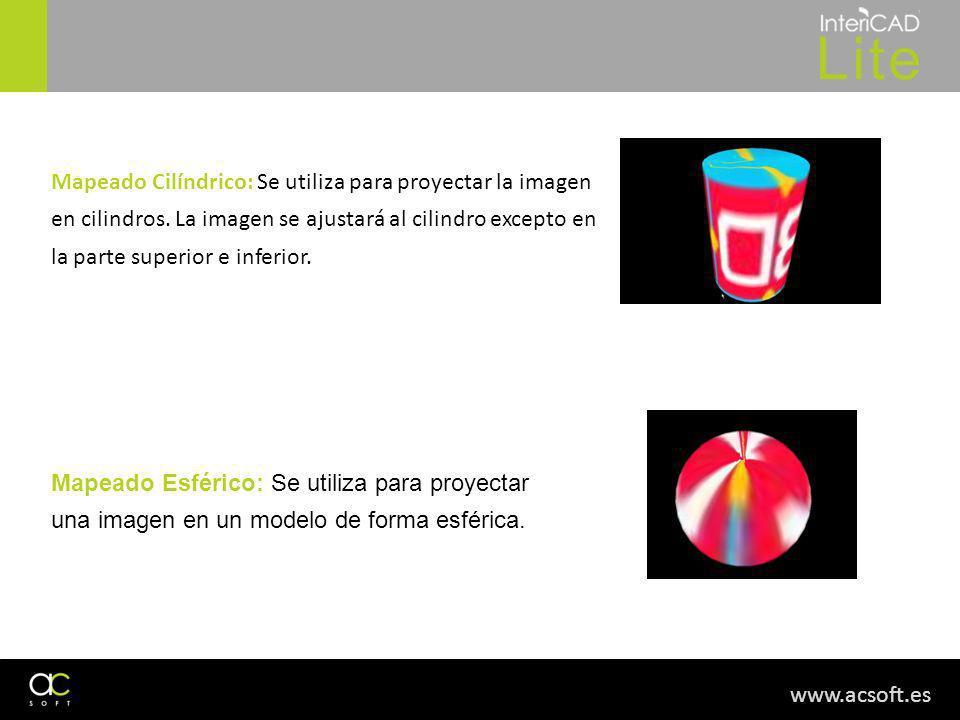 www.acsoft.es Mapeado Cilíndrico: Se utiliza para proyectar la imagen en cilindros. La imagen se ajustará al cilindro excepto en la parte superior e i