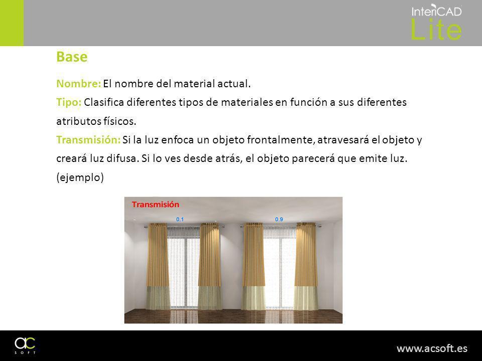 www.acsoft.es Nombre: El nombre del material actual. Tipo: Clasifica diferentes tipos de materiales en función a sus diferentes atributos físicos. Tra