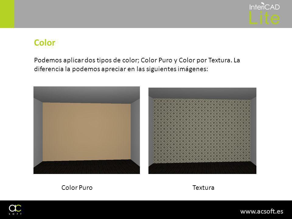 www.acsoft.es Color Podemos aplicar dos tipos de color; Color Puro y Color por Textura. La diferencia la podemos apreciar en las siguientes imágenes: