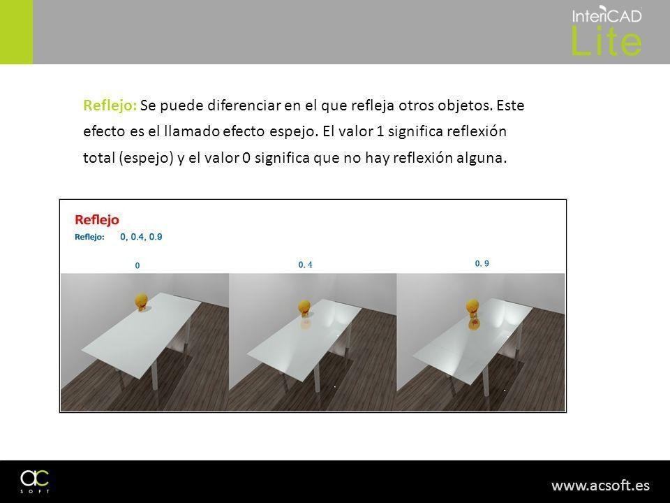 www.acsoft.es Reflejo: Se puede diferenciar en el que refleja otros objetos. Este efecto es el llamado efecto espejo. El valor 1 significa reflexión t