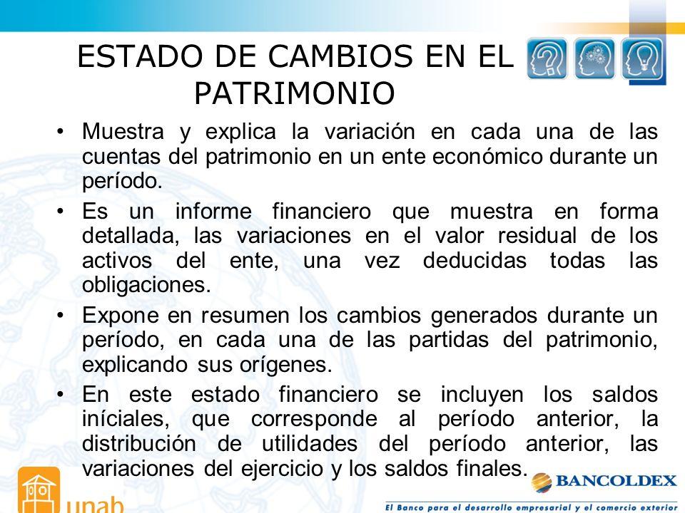 ESTADO DE CAMBIOS EN EL PATRIMONIO Muestra y explica la variación en cada una de las cuentas del patrimonio en un ente económico durante un período. E