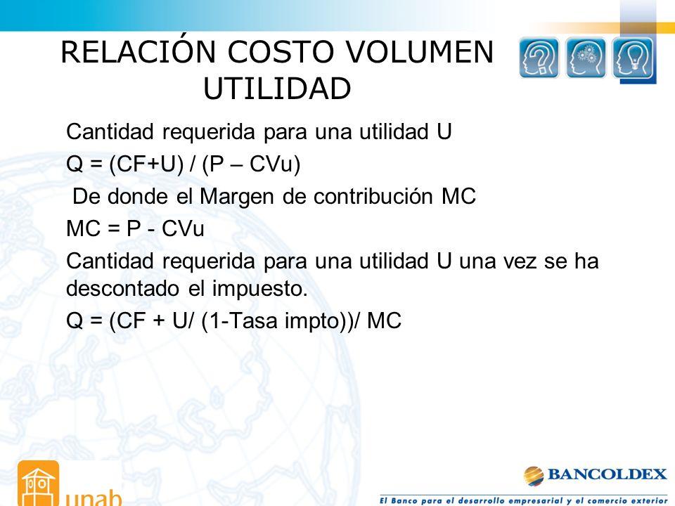 RELACIÓN COSTO VOLUMEN UTILIDAD Cantidad requerida para una utilidad U Q = (CF+U) / (P – CVu) De donde el Margen de contribución MC MC = P - CVu Canti