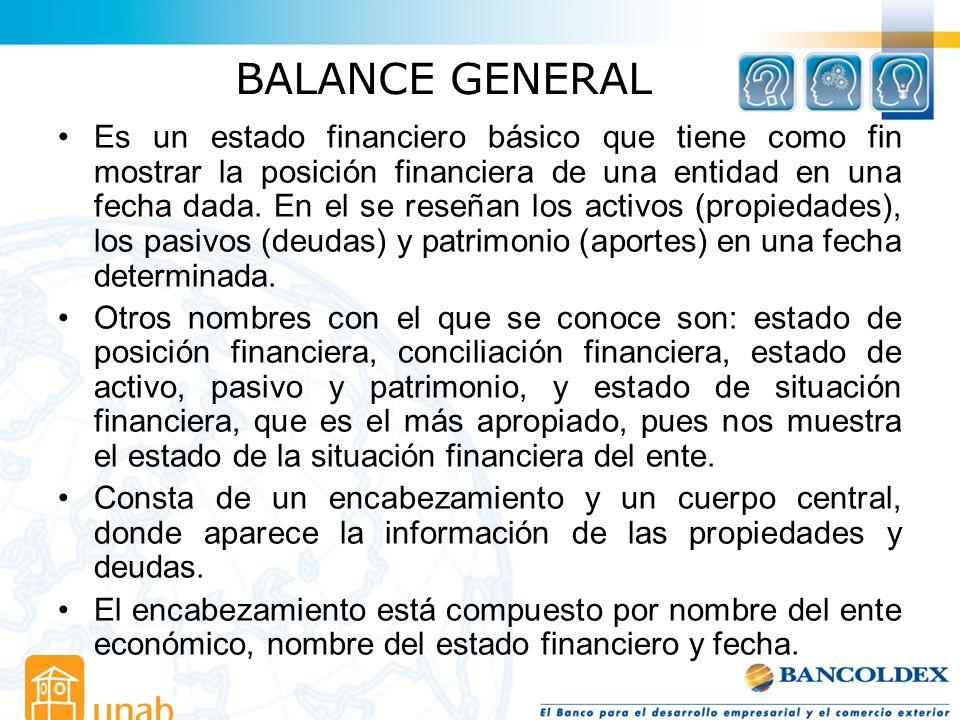 BALANCE GENERAL Es un estado financiero básico que tiene como fin mostrar la posición financiera de una entidad en una fecha dada. En el se reseñan lo