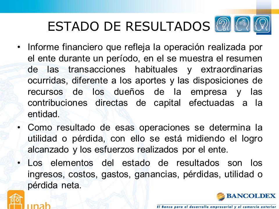 ESTADO DE RESULTADOS Informe financiero que refleja la operación realizada por el ente durante un período, en el se muestra el resumen de las transacc