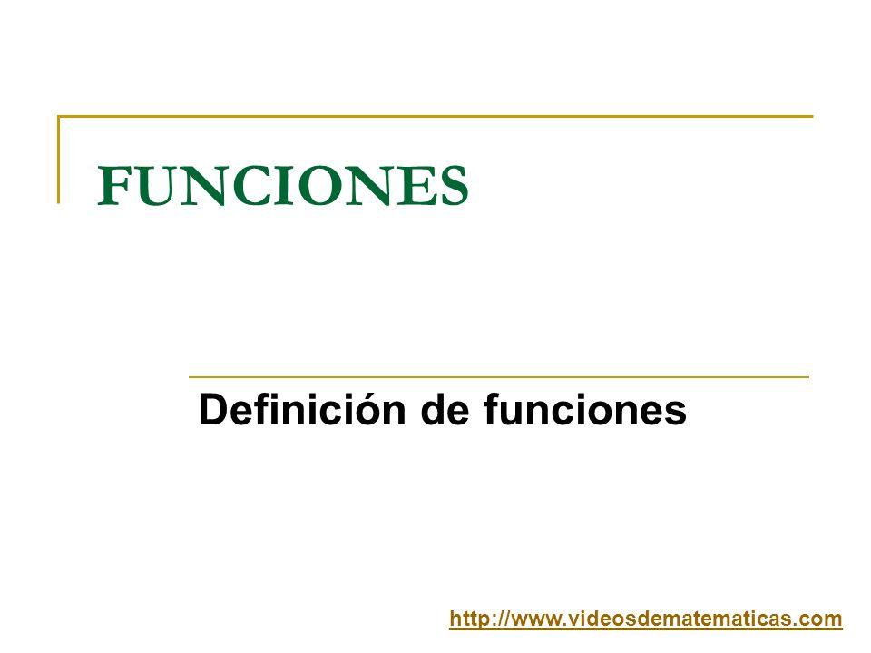 FUNCIONES Definición de funciones http://www.videosdematematicas.com