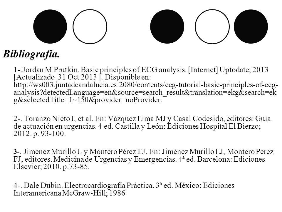 Bibliografía. 1-.Jordan M Prutkin. Basic principles of ECG analysis. [Internet] Uptodate; 2013 [Actualizado 31 Oct 2013 ]. Disponible en: http://ws003