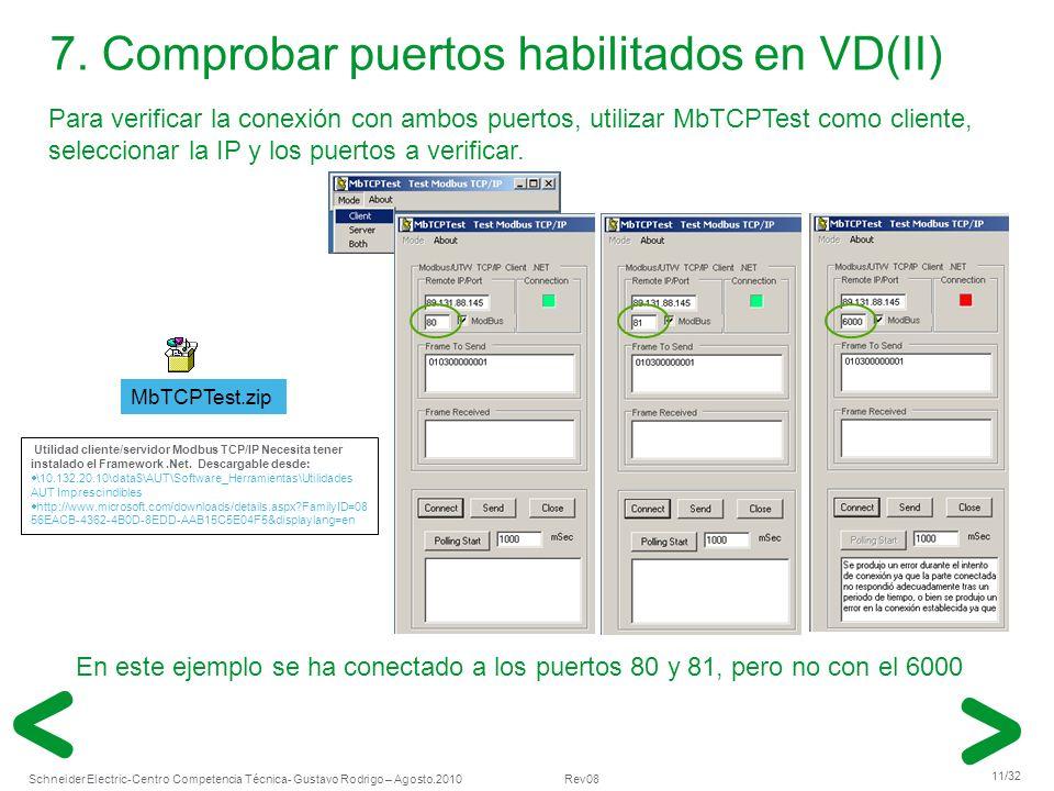 Schneider Electric 11/32 -Centro Competencia Técnica- Gustavo Rodrigo – Agosto.2010 Rev08 7. Comprobar puertos habilitados en VD(II) Para verificar la