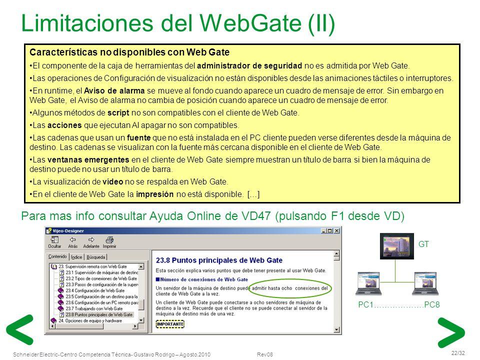 Schneider Electric 22/32 -Centro Competencia Técnica- Gustavo Rodrigo – Agosto.2010 Rev08 Limitaciones del WebGate (II) Características no disponibles