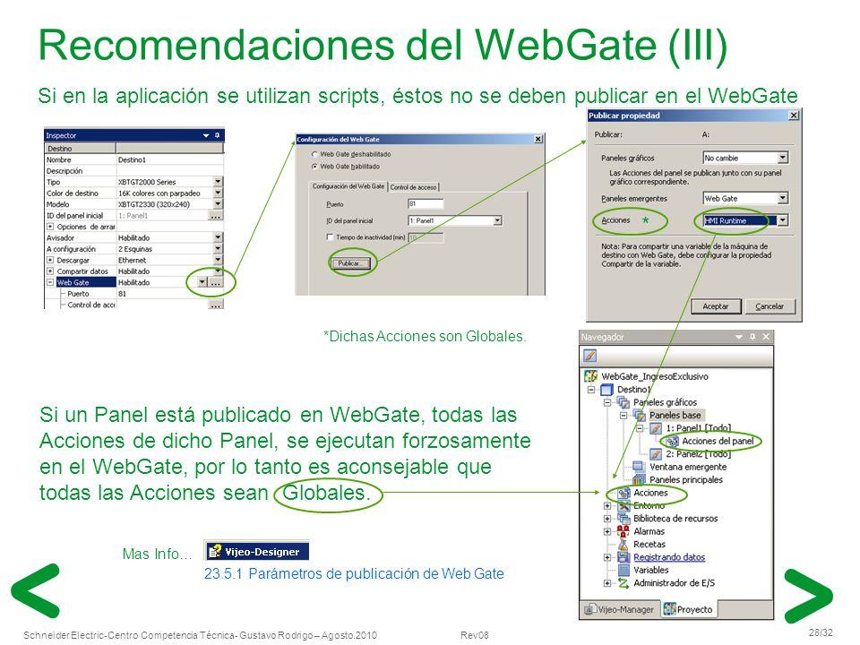 Schneider Electric 28/32 -Centro Competencia Técnica- Gustavo Rodrigo – Agosto.2010 Rev08 Recomendaciones del WebGate (III) Si en la aplicación se uti