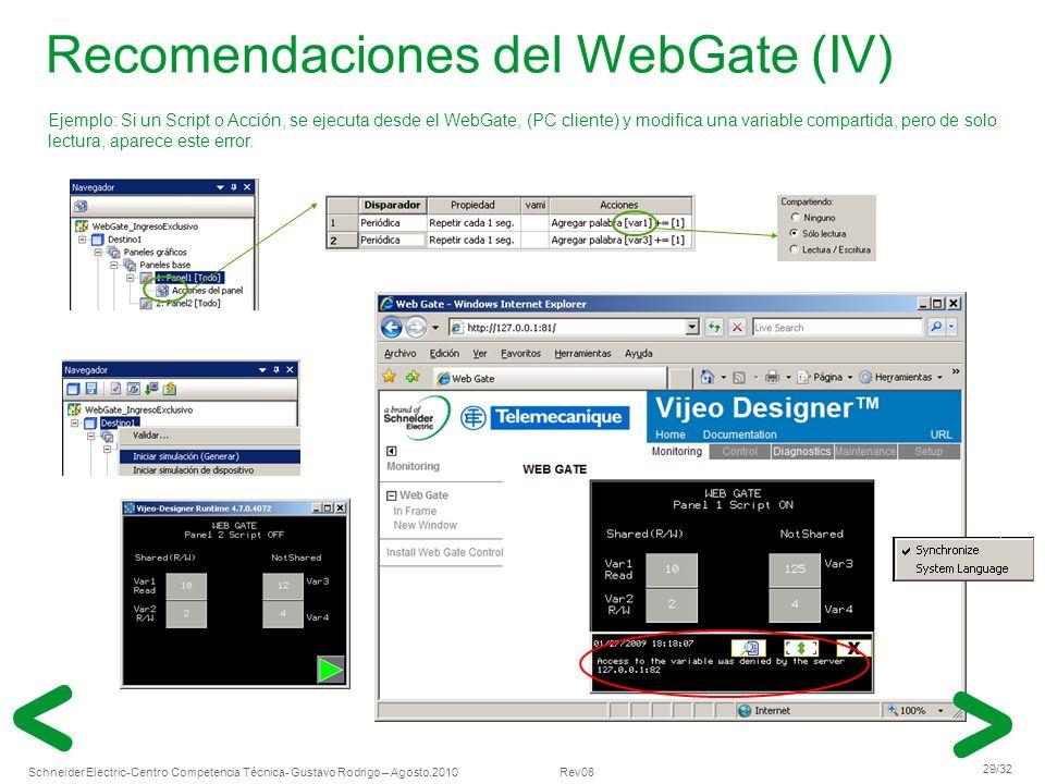 Schneider Electric 29/32 -Centro Competencia Técnica- Gustavo Rodrigo – Agosto.2010 Rev08 Recomendaciones del WebGate (IV) Ejemplo: Si un Script o Acc
