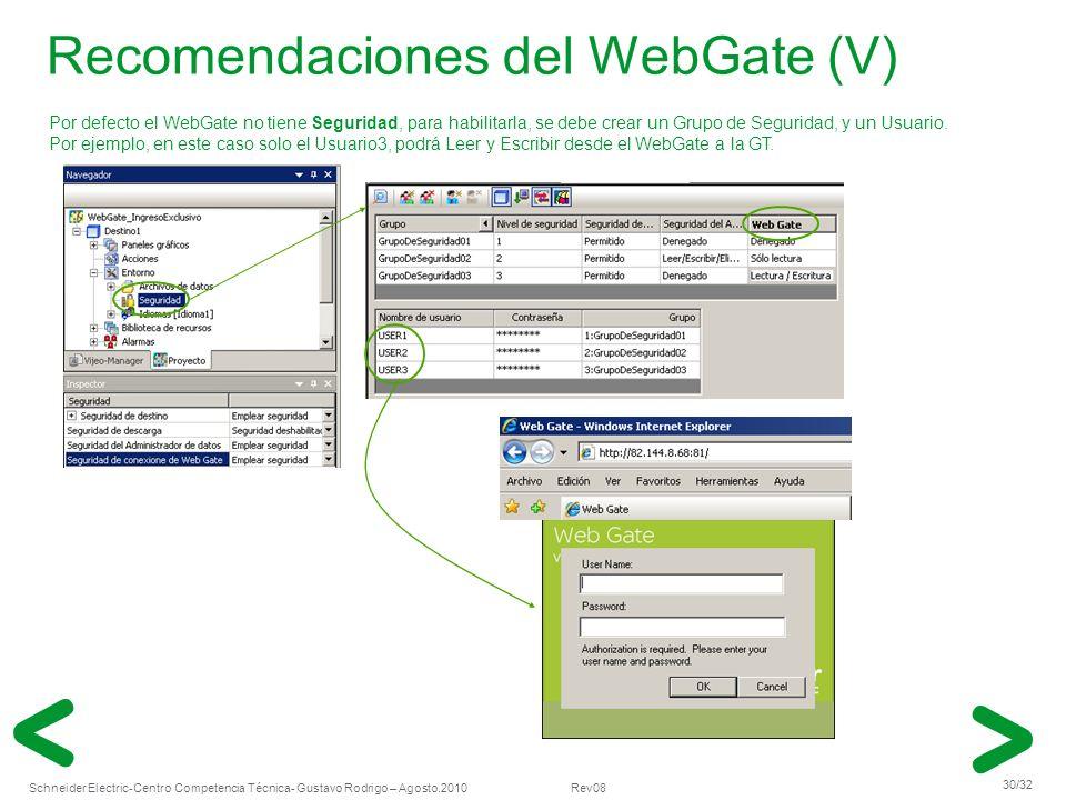 Schneider Electric 30/32 -Centro Competencia Técnica- Gustavo Rodrigo – Agosto.2010 Rev08 Recomendaciones del WebGate (V) Por defecto el WebGate no ti