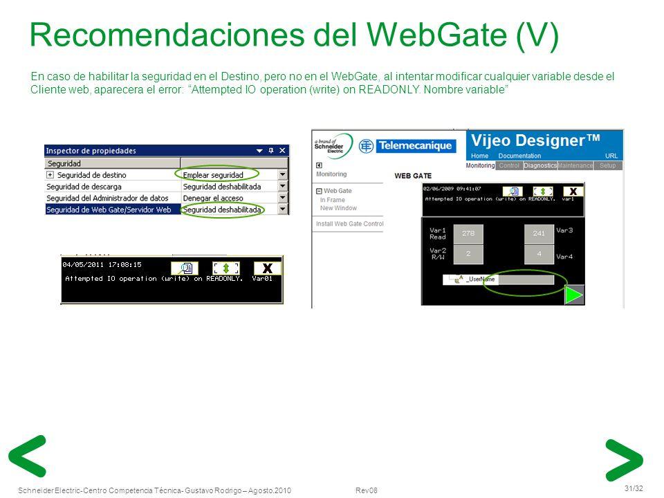Schneider Electric 31/32 -Centro Competencia Técnica- Gustavo Rodrigo – Agosto.2010 Rev08 Recomendaciones del WebGate (V) En caso de habilitar la segu