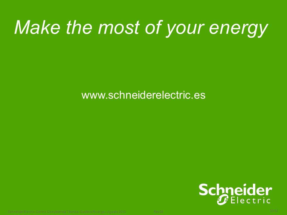 Schneider Electric 33/32 -Centro Competencia Técnica- Gustavo Rodrigo – Agosto.2010 Rev08 Make the most of your energy www.schneiderelectric.es