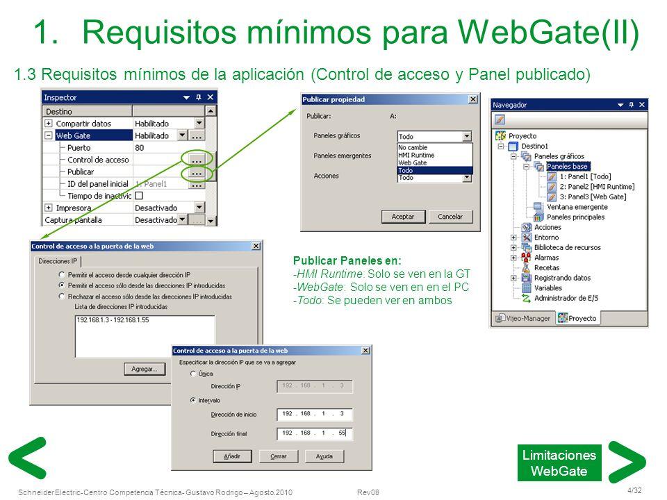 Schneider Electric 4/32 -Centro Competencia Técnica- Gustavo Rodrigo – Agosto.2010 Rev08 1.Requisitos mínimos para WebGate(II) 1.3 Requisitos mínimos