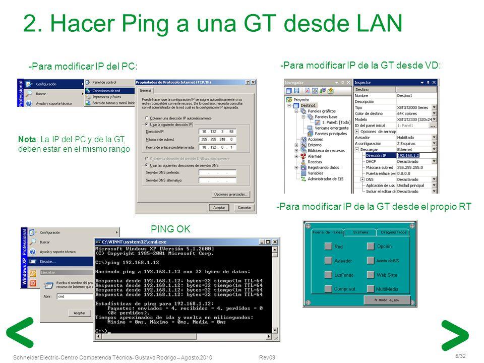Schneider Electric 5/32 -Centro Competencia Técnica- Gustavo Rodrigo – Agosto.2010 Rev08 2. Hacer Ping a una GT desde LAN -Para modificar IP del PC: -