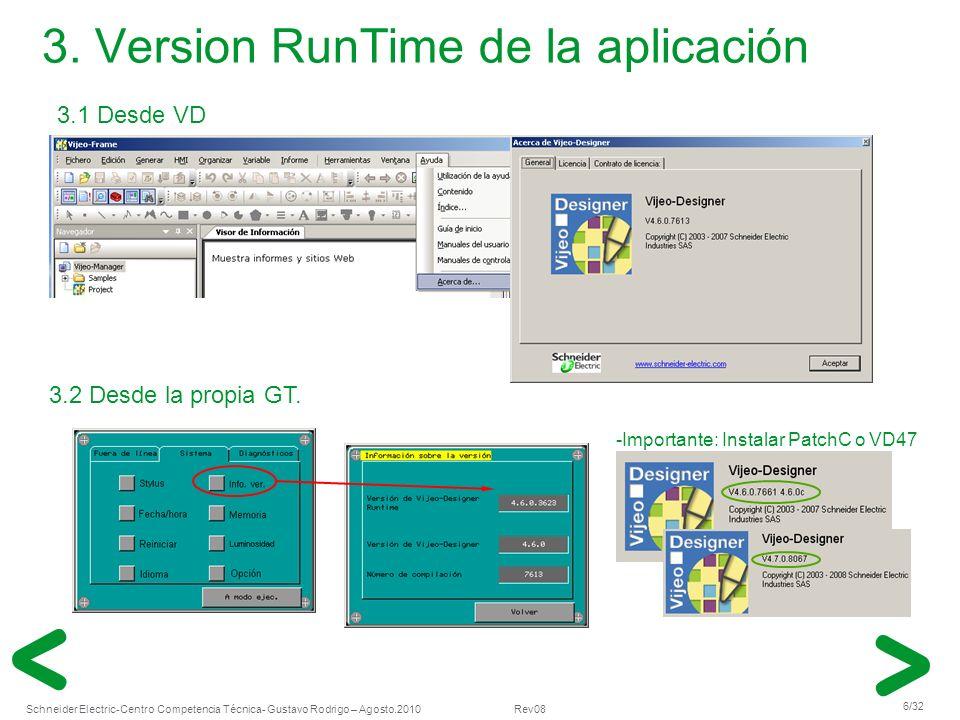 Schneider Electric 6/32 -Centro Competencia Técnica- Gustavo Rodrigo – Agosto.2010 Rev08 3. Version RunTime de la aplicación 3.1 Desde VD 3.2 Desde la