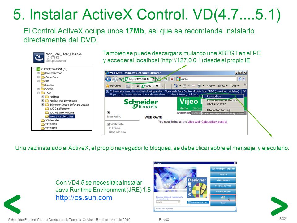 Schneider Electric 8/32 -Centro Competencia Técnica- Gustavo Rodrigo – Agosto.2010 Rev08 5. Instalar ActiveX Control. VD(4.7....5.1) Una vez instalado