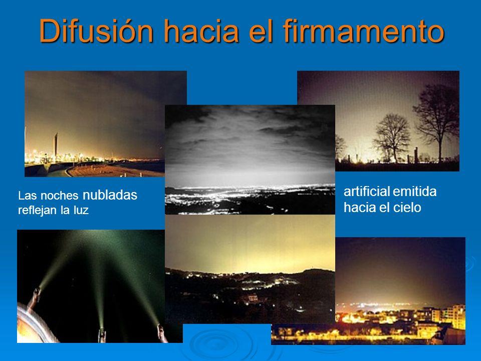 Difusión hacia el firmamento Las noches nubladas reflejan la luz artificial emitida hacia el cielo