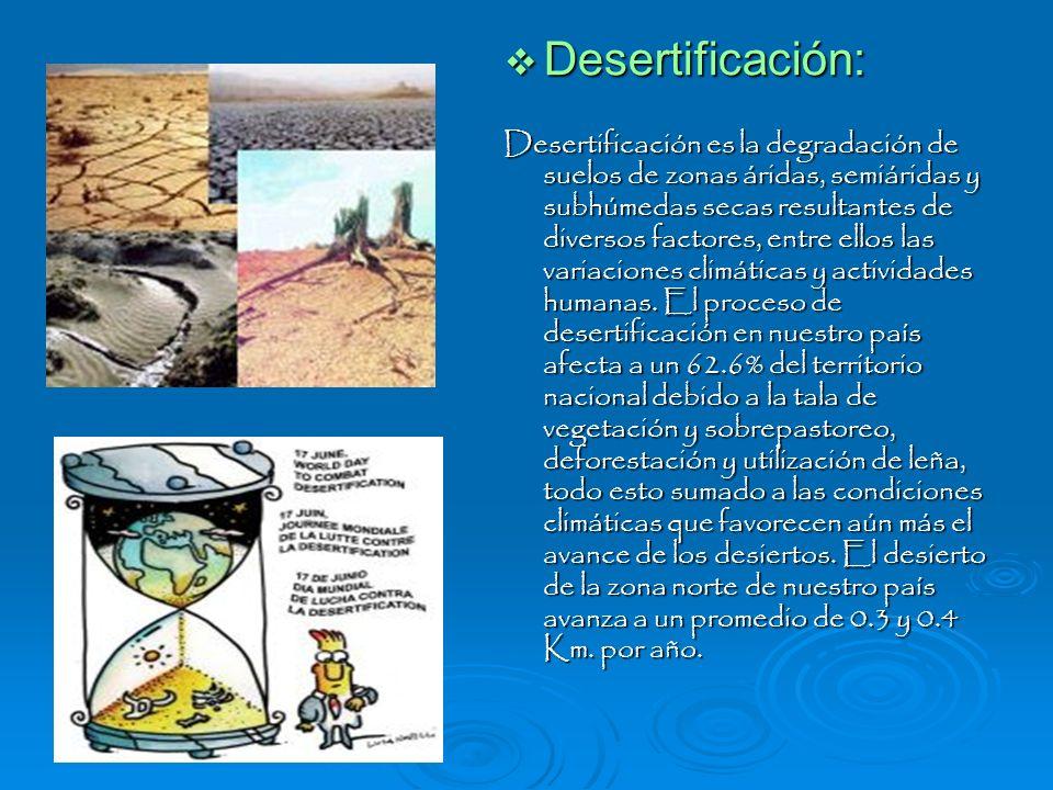 Desertificación: Desertificación: Desertificación es la degradación de suelos de zonas áridas, semiáridas y subhúmedas secas resultantes de diversos f