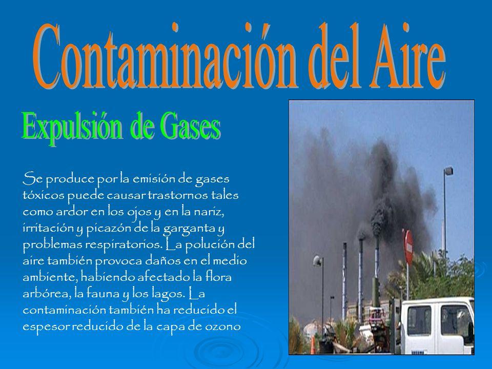 Se produce por la emisión de gases tóxicos puede causar trastornos tales como ardor en los ojos y en la nariz, irritación y picazón de la garganta y p