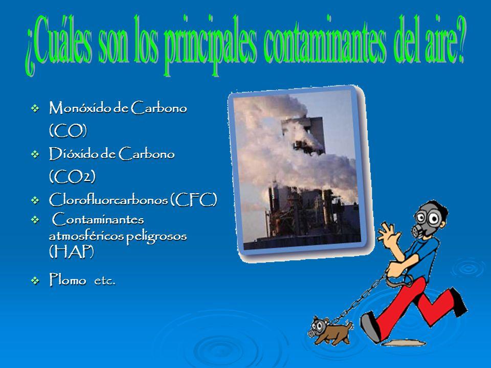 Monóxido de Carbono (CO) Monóxido de Carbono (CO) Dióxido de Carbono (CO2) Dióxido de Carbono (CO2) Clorofluorcarbonos (CFC) Clorofluorcarbonos (CFC)