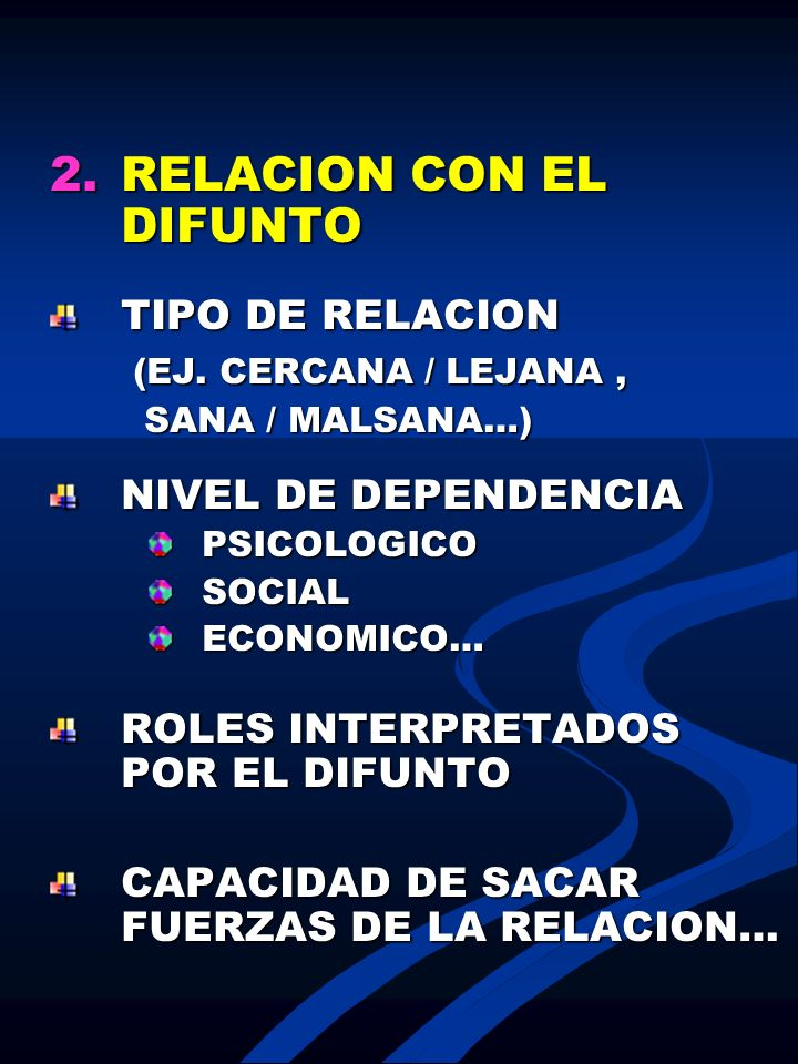 2.RELACION CON EL DIFUNTO TIPO DE RELACION (EJ. CERCANA / LEJANA, (EJ. CERCANA / LEJANA, SANA / MALSANA…) SANA / MALSANA…) NIVEL DE DEPENDENCIA PSICOL