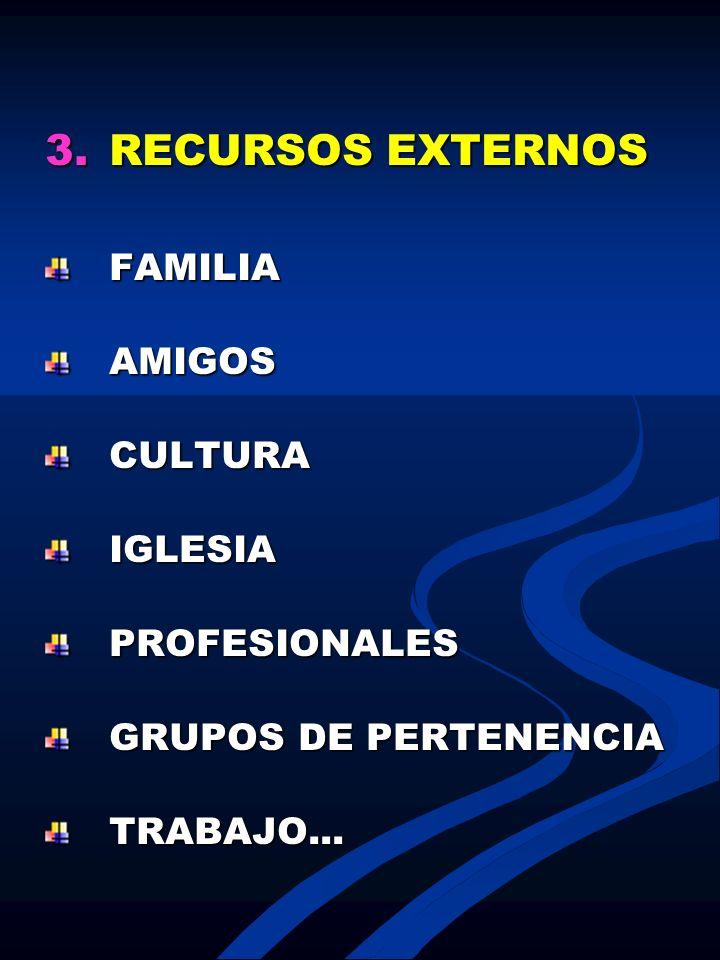 3.RECURSOS EXTERNOS FAMILIAAMIGOSCULTURAIGLESIAPROFESIONALES GRUPOS DE PERTENENCIA TRABAJO...