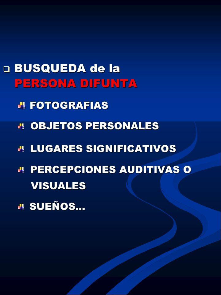 BUSQUEDA de la BUSQUEDA de la PERSONA DIFUNTA PERSONA DIFUNTA FOTOGRAFIAS FOTOGRAFIAS OBJETOS PERSONALES OBJETOS PERSONALES LUGARES SIGNIFICATIVOS LUG