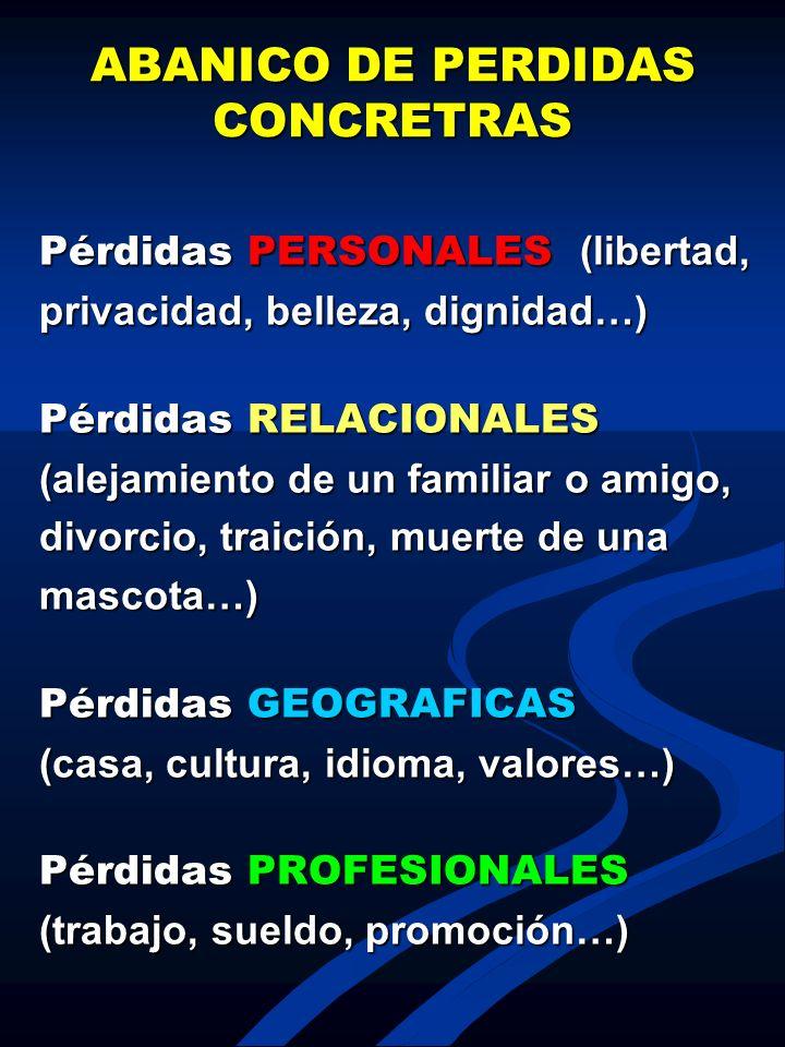 ABANICO DE PERDIDAS CONCRETRAS Pérdidas PERSONALES (libertad, privacidad, belleza, dignidad…) Pérdidas RELACIONALES (alejamiento de un familiar o amig
