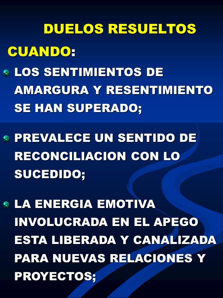 DUELOS RESUELTOS CUANDO: CUANDO: LOS SENTIMIENTOS DE AMARGURA Y RESENTIMIENTO SE HAN SUPERADO; PREVALECE UN SENTIDO DE RECONCILIACION CON LO SUCEDIDO;